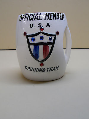 VTG 1957 Official Member U.S. Drinking Team Cup Mug 50's Coffee Alcohol Gag Fun
