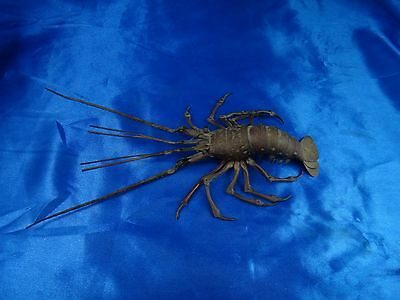 Antique Very Old Japanese Articulated Copper Lobster Signed