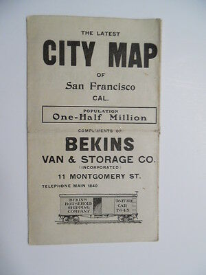c.1915 Bekins Van & Storage City Map of San Francisco California Antique ORIG.