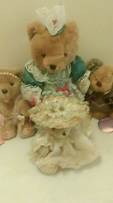 LOT of  4 Dressed Bears Brass Button Bearly People Friends of Boyds