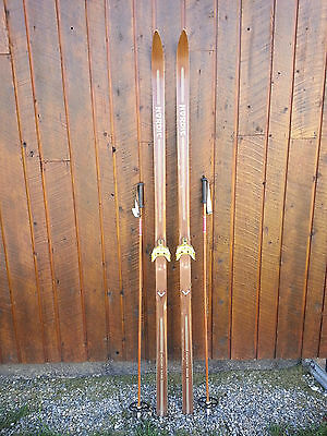 """VINTAGE Wooden 79"""" Skis Has  BROWN Finish Signed NORDIC + Bamboo Poles"""