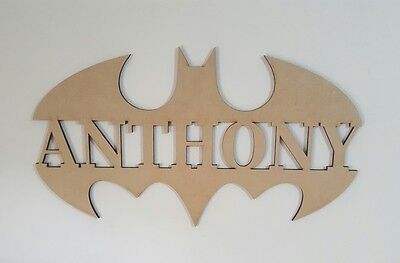 Batman Kids Letters Wall Hanging Wooden Name Sign Nursery Baby UNPAINTED Raw MDF