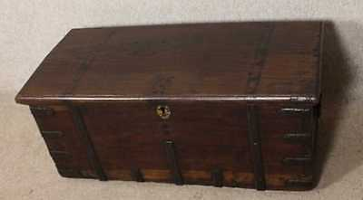 Carved 1900 Teak small maritime coffer - good hinges. Great storage