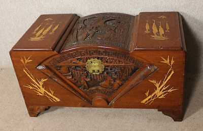 Decorative Carved 1920s Camphor wood coffer with nice carving