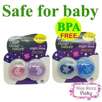 2x Tommee Tippee Closer to Nature Fun Soother Baby Orthodontic Pacifier night