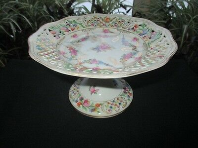 Schumann Dresden Flowers Reticulated Open Lace Edge Pedestal Strawberry Compote
