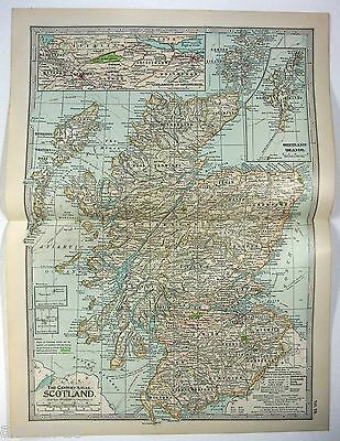 Original 1902 Map of Scotland - A Nicely Detailed Color Lithograph