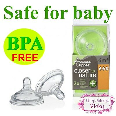 Tommee Tippee Closer To Nature Bottle Nipples Teat Anti Colic Plus 6m+ x 2 FAST
