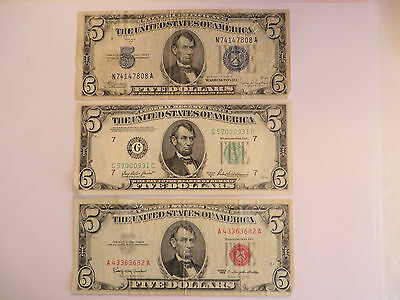 Lot of 3 $5 Notes, 1 1963 US Note, 1 1934 C Silver Cert, + 1 1950 B FRN