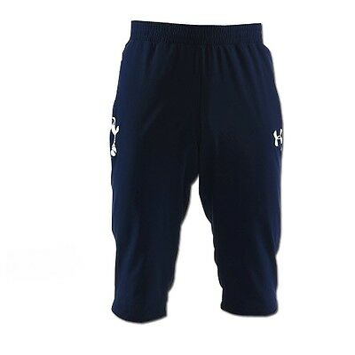TOTTENHAM HOTSPUR Mens Blue Under Armour 3/4 Football Training Bottoms Medium