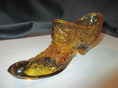 Daisy & Button Amber Glass Shoe Victorian Slipper With High Laced Instep