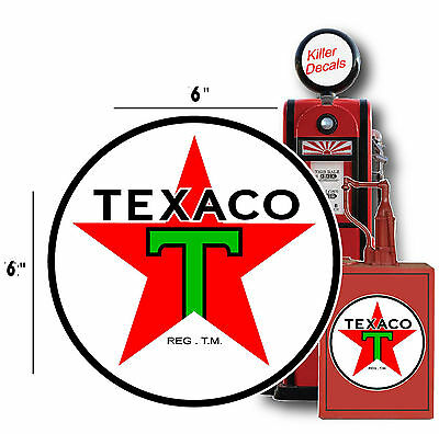 "6"" Pre War Texaco Gasoline Gas Pump Sign Tank Decal (Texa-8)"