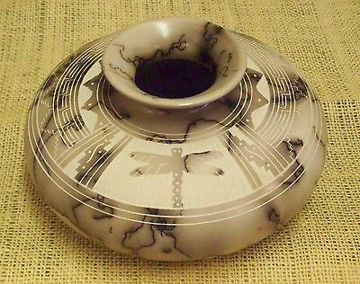 Native American Handmade Horsehair Pottery Etched by Hilda Whitegoat Medium Pot