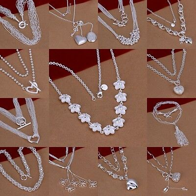 Fashion Womens Solid925 Silver Jewelry Pendant Necklace Chain Jewellery+gift box