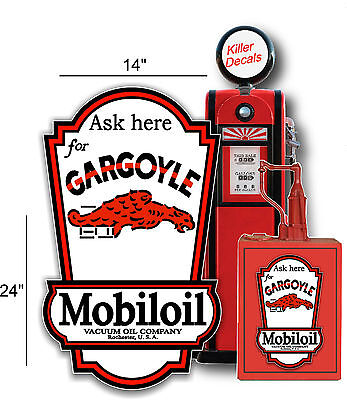 "(Gargo-Lub-3) 24""x14"" Mobil Gargoyle Lubster Side Decal Oil Gas Pump Gasoline"