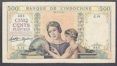 French Indochina 500 Piastres banknote P-57 ND 1939