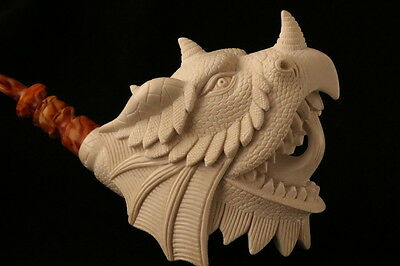 Parade Dragon Hand Carved Block Meerschaum Pipe by I. Baglan in a fit case 7485