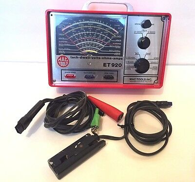 Great MAC TOOLS TESTER MODEL ET920 TACH/DWELL/VOLTS/AMPS/OHMS Engine Analyzer