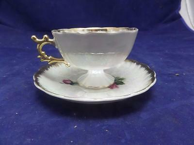 Vintage tea cup and saucer pearlized with flowers and rose NICE! Q4