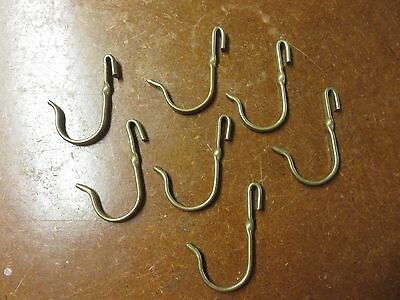 Vintage Lot of 7 Brass Hook on Coat Hat Hooks Or Pots and Pans Hooks
