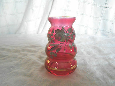 Cranberry hand painted glass toothpick holder, vase