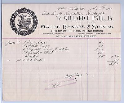 Billhead 1894 Willard E. Paul, Dr. Magee Ranges and Stoves.: Decatur Connection