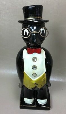 """Antique Old Crow With Glasses & Rhinestone Buttons 9-3/4"""" Tall. Liquor Decanter"""
