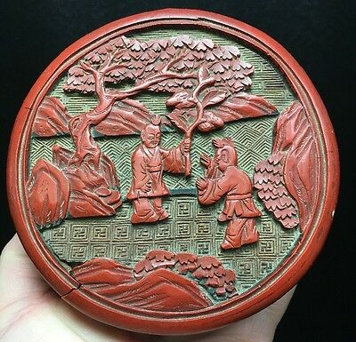 CHINESE LACQUER? CINNABAR? BOX LID WITH SCENE With FIGURES Buddha