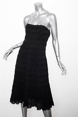 7fc3cf7eae93 CHRISTIAN DIOR Womens Black Ruched Smocked Strapless Cocktail Dress 38/6 S