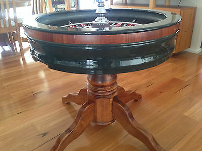 Genuine Full Size Casino Roulette Wheel Cocktail Coffee Table