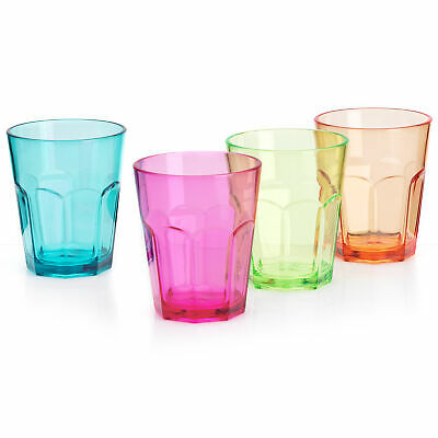 Flamefield Acrylic Party Soda Glass 340ml - Set of 4 - Coloured Plastic Tumblers