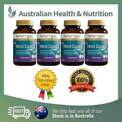 4 x HERBS OF GOLD - ANXIETY EASE 60T - CLINICALLY TRIALLED & PROVEN +FREE SAMPLE