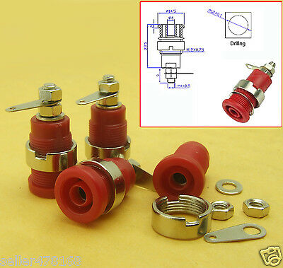 100PCS red 4mm Banana socket Binding Post Nuts for multimeter Safety protection