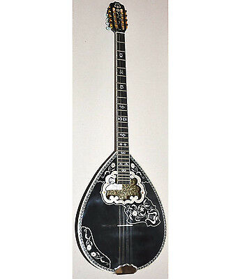 8-STRING BLACK BOUZOUKI w/ SOFT CASE ~ CLASSIC GREEK PROFESSIONAL MATSIKAS 461