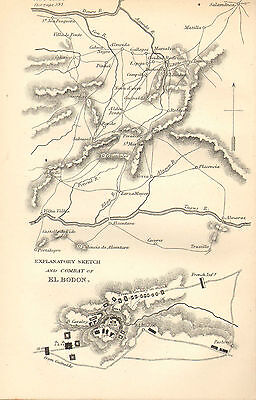Peninsular War Map/battle Plan Battle ~ Explanatory Sketch & Combat Of El Bodon