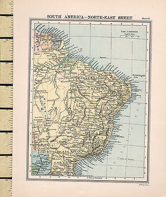 c1880 VICTORIAN MAP ~ SOUTH AMERICA ~ NORTH-EAST SHEET ~ BRAZIL