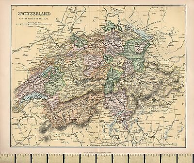 c1880 VICTORIAN MAP ~ SWITZERLAND & THE PASSES OF THE ALPS