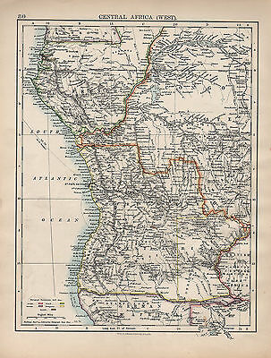 1898 Victorian Map ~ Central Africa West ~ Showing European Possessions