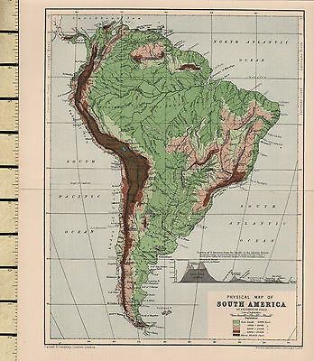 c1880 VICTORIAN MAP ~ SOUTH AMERICA PHYSICAL ~ SHOWING MOUNTAIN HEIGHTS