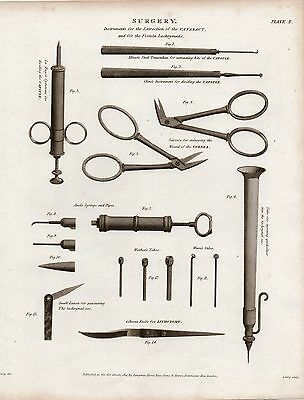 1814 Georgian Print ~ Surgery Instruments For Extraction Of Cataract Lithotomy