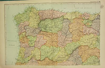 Map Of North West Spain.1920 Map Spain Portugal North West Large Colour Map Gross 15 00