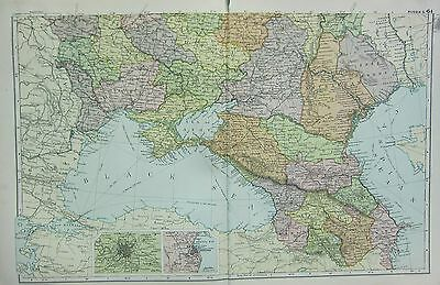1912 Large Antique Map ~ Russia South ~ Environs Of Odessa Moscow