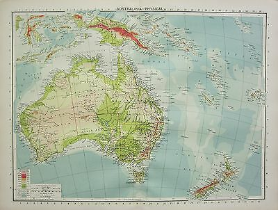 1934 Large Map ~ Australasia Physical ~