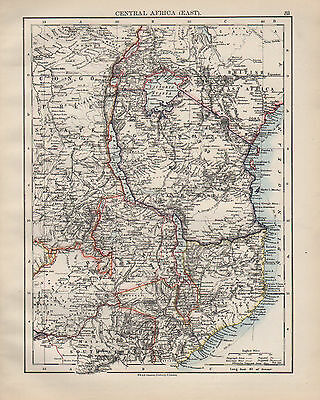 1899 Victorian Map ~ Central Africa East ~ Congo Free State