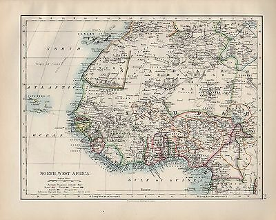1899 Victorian Map ~ North-West Africa ~ Soudan Canary Islands