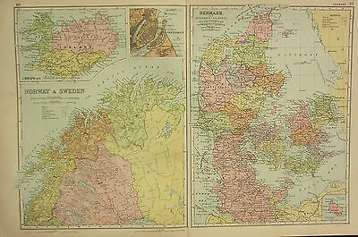 1912 Large Antique Map ~ Norway & Sweden Northern ~ Iceland ~ Denmark Copenhagen