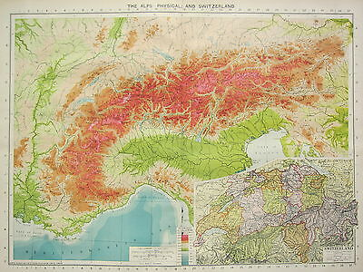 1934 Large Map ~ The Alps Physical & Switzerland ~ Land Heights