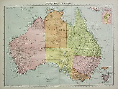 1934 Large Map ~ Commonwealth Of Australia ~ Queensland Victoria New South Wales