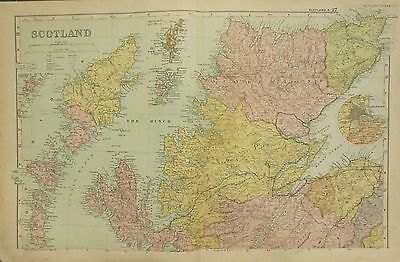 1912 Large Antique Map ~ Scotland North ~ Sutherland Ross Environs Aberdeen