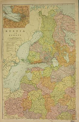 1912 LARGE ANTIQUE MAP ~ RUSSIA IN EUROPE NORTH WEST ENVIRONS St PETERSBURG
